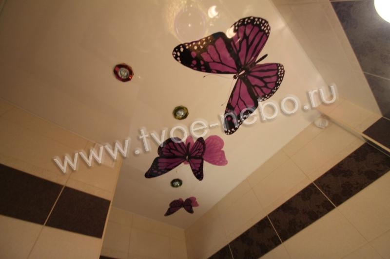 Фото натяжной потолок в ванной фотогалерея - компания Recar | 533x800